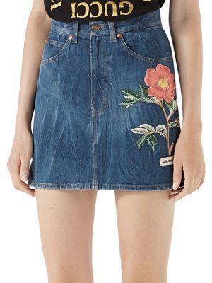 High Waist Flower Embroidered Mini Skirt in Blue