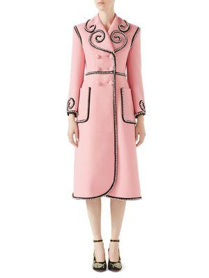 Crystal-embellished double-breasted wool coat