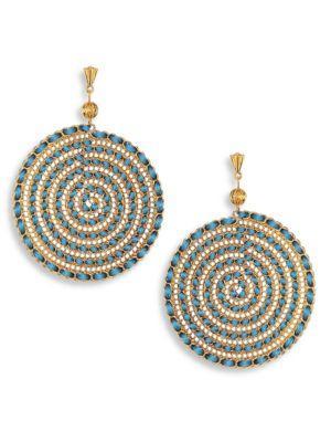 Teal Swirl Chain Earrings
