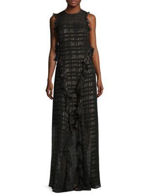 Backless Ruffled Metallic Chiffon Gown
