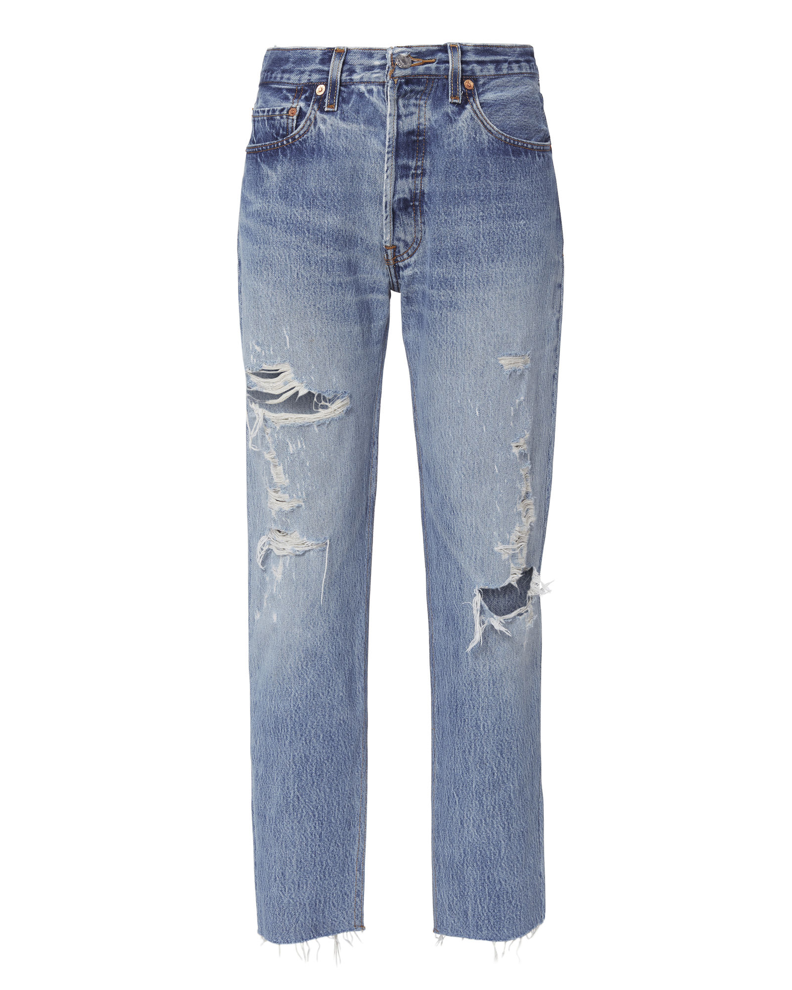RELAXED DESTROYED HIGH-RISE JEANS DENIM 2