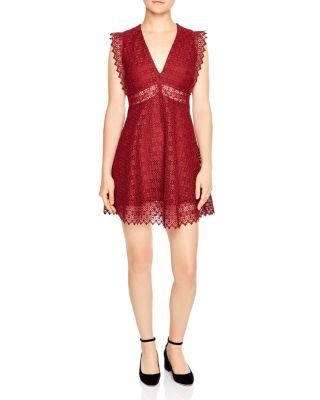 SANDRO Lace Skater Dress, Red, 2, Burgundy