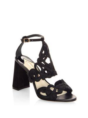 Albany Embroidered Suede Block Heel Sandals