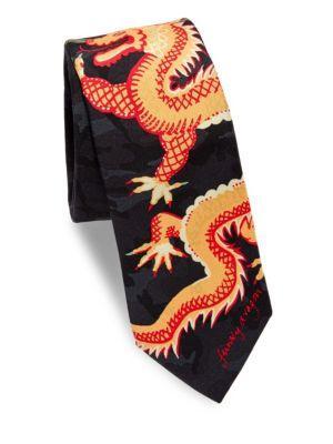 VALENTINO Dragon Silk Tie in Nero