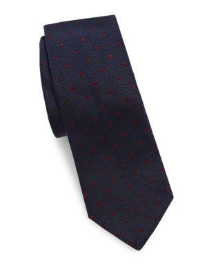 BRUNELLO CUCINELLI Mini Polka-Dot Silk Tie in Navy