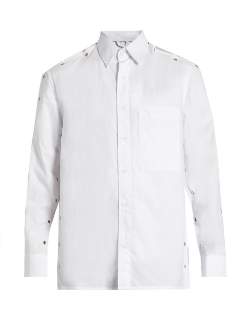 CRAIG GREEN Laced-Seam Backless Cotton Shirt in Colour: White