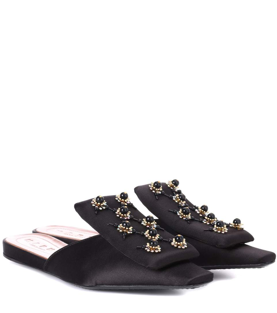Embellished satin slipper shoes