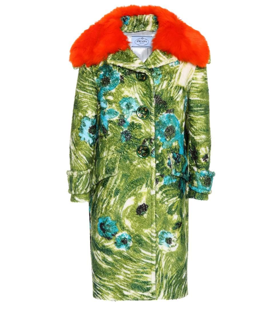 Fur-trimmed alpaca and wool coat