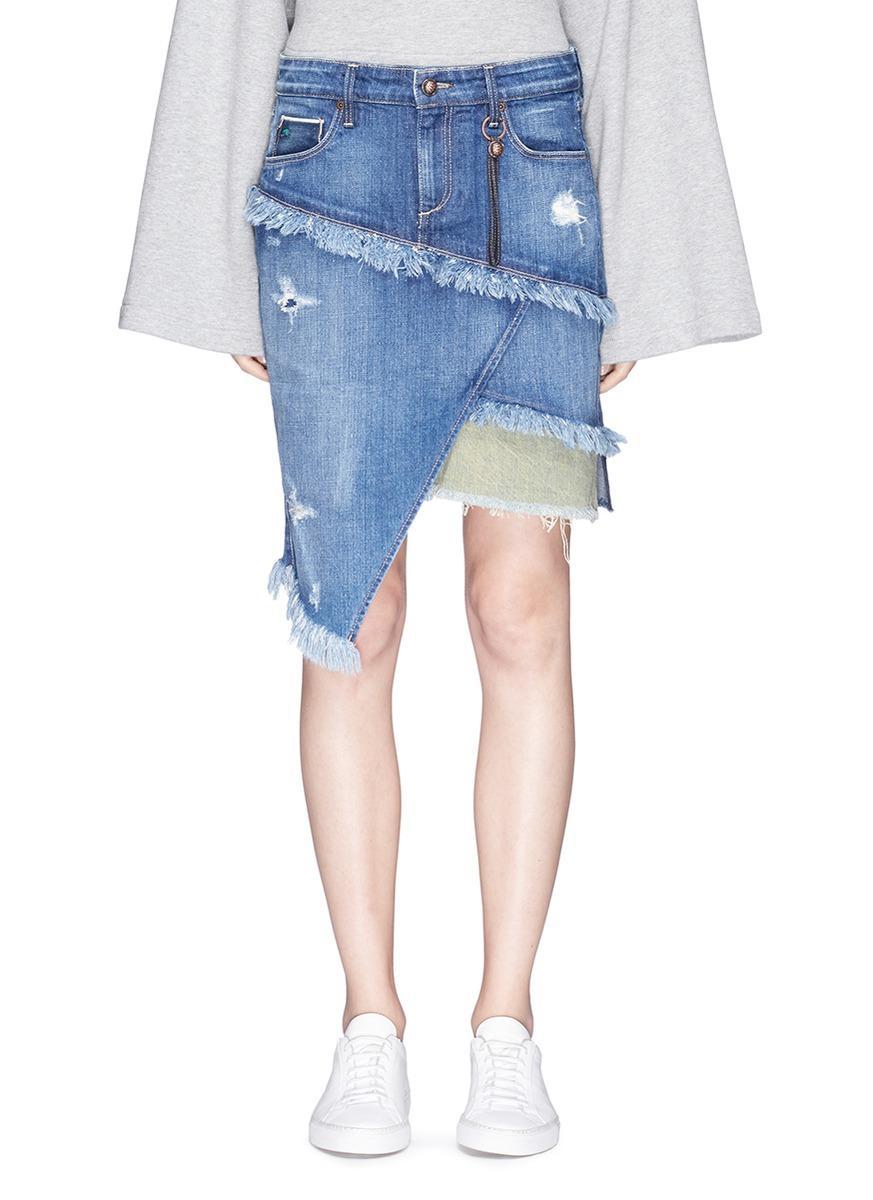 TORTOISE 'Elseya' distressed asymmetric layered denim skirt