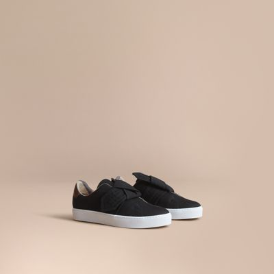 Burberry Leathers Trench Knot Cotton Gabardine Sneakers