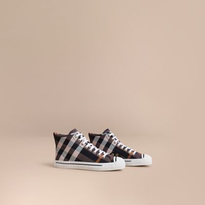 Burberry Leathers Check Linen Cotton High-top Trainers
