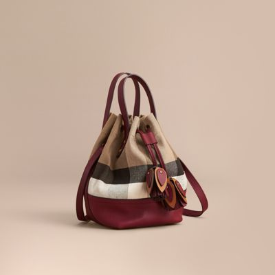 Medium Canvas Check and Leather Bucket Bag