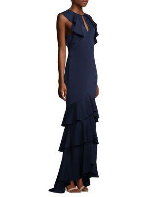 Sleeveless Ruffled Tiered Hem Formal Gown