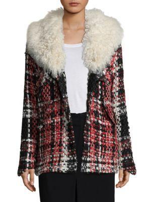 'Antoine' shearling collar check plaid tweed jacket