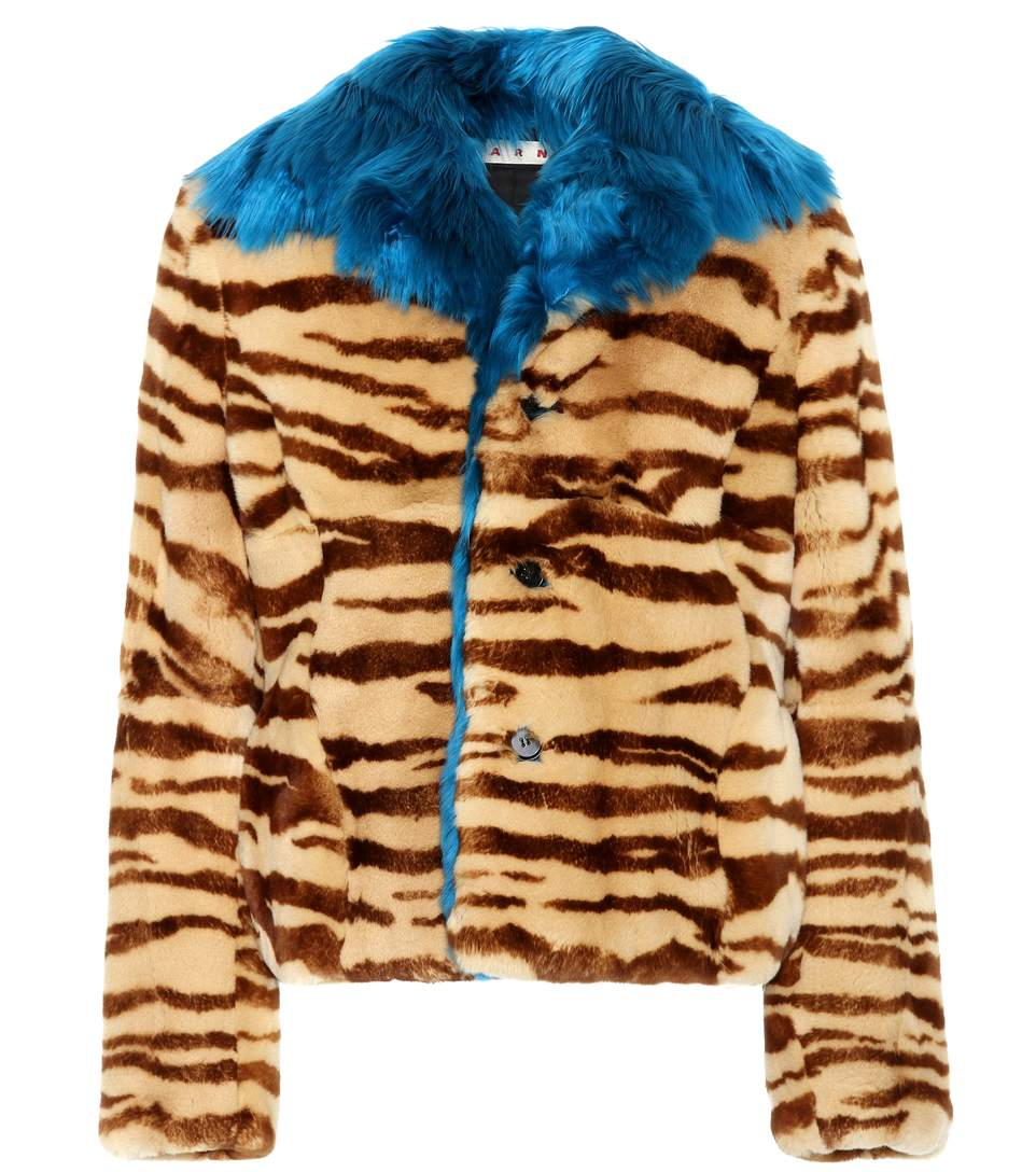 PRINTED FUR JACKET
