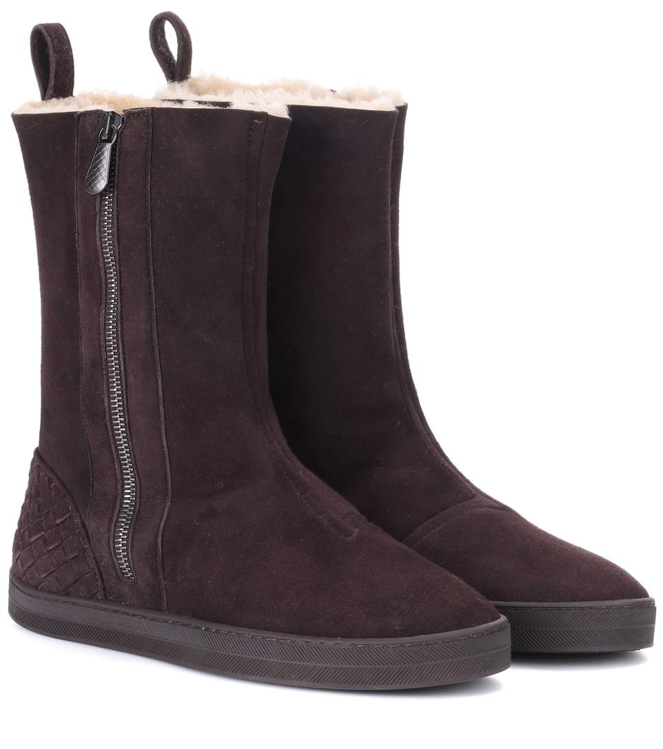 bottega veneta winter lagoon shearling lined suede boots