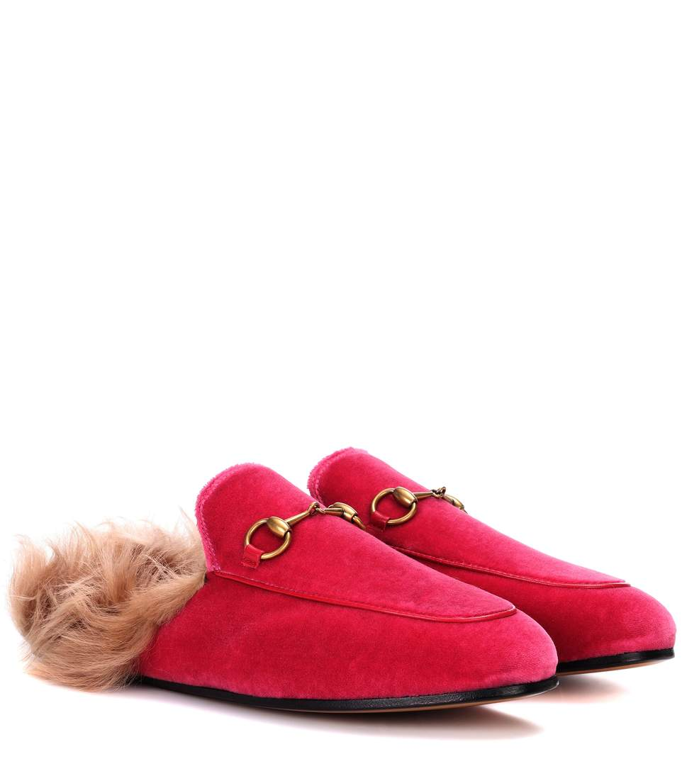PRINCETOWN FUR-LINED VELVET SLIPPERS