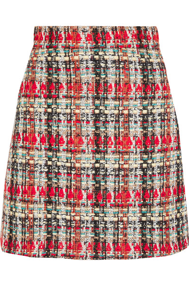 LIGHT TWEED SKIRT W/ CONTRASTING PIPING