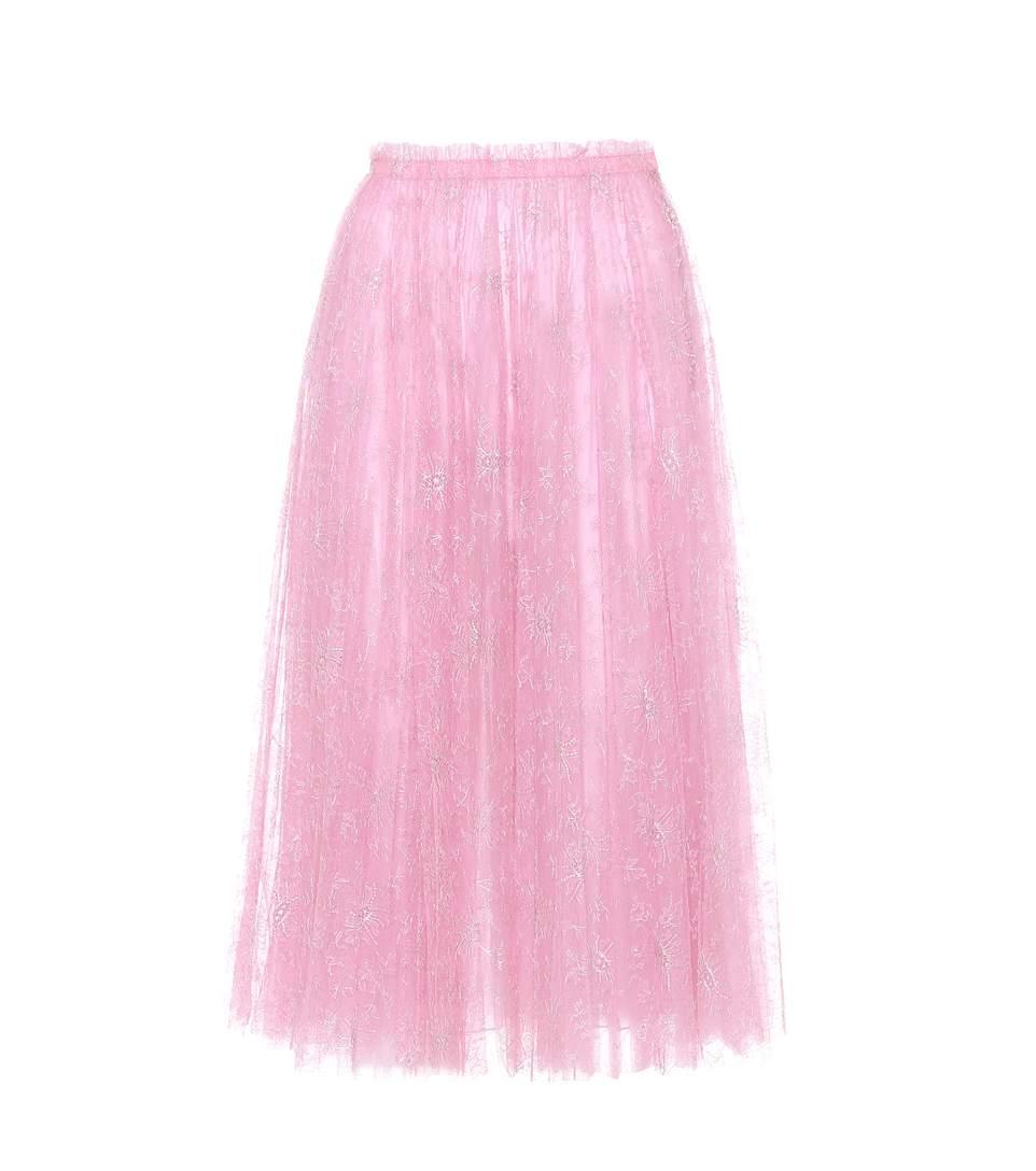 Metallic floral embroidered tulle midi skirt