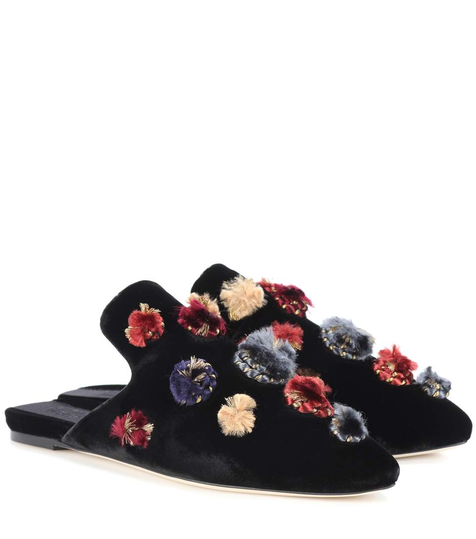 CROSTATA EMBELLISHED VELVET SLIPPERS