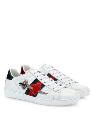 New Ace Pierced Heart Leather Sneakers