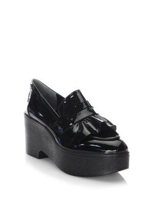 RUFFLED PATENT-LEATHER PLATFORM LOAFERS