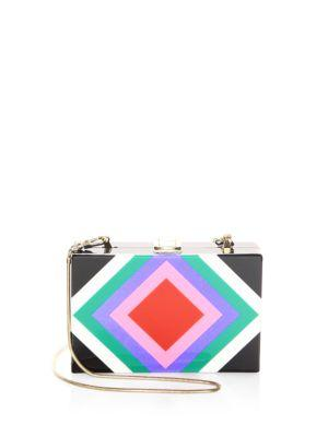 DIAMOND SQUARE BOX CLUTCH - BLACK