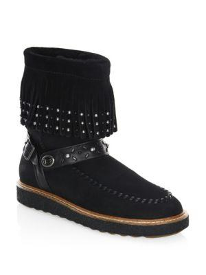 Roccasin Shearling-Lined Suede Boots