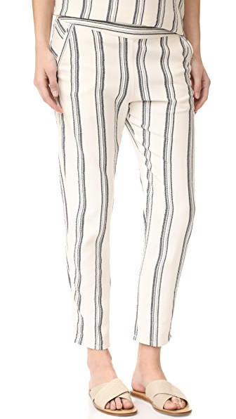 WOMAN CASSIE STRIPED COTTON TAPERED PANTS ECRU
