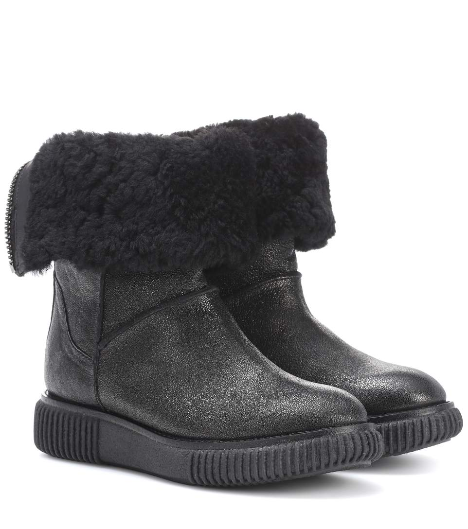 NEW CHRISTINE FUR-LINED LEATHER ANKLE BOOTS