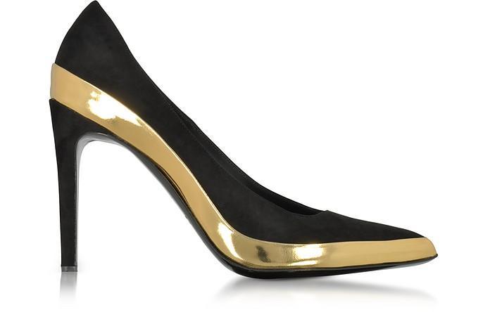 Balmain Leathers Sasha Black Suede and Gold Metallic Leather High Heel Pump