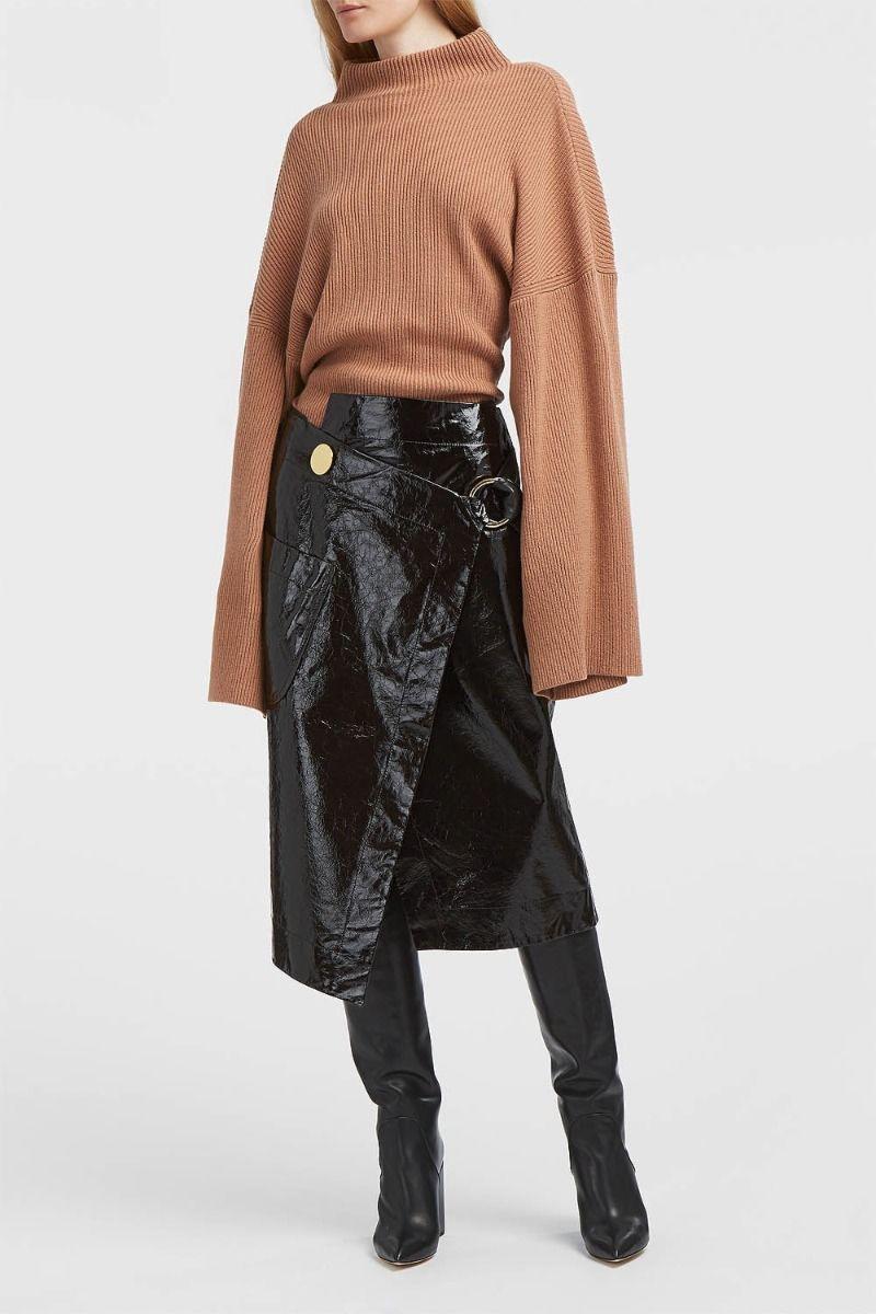 Petar Petrov Ruth Patent-Leather Wrap Skirt