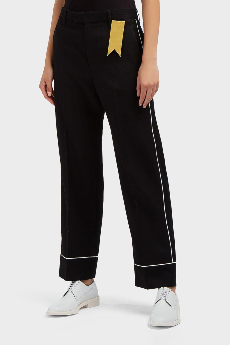 The Gigi Satin-Trimmed Wool-Twill Trousers