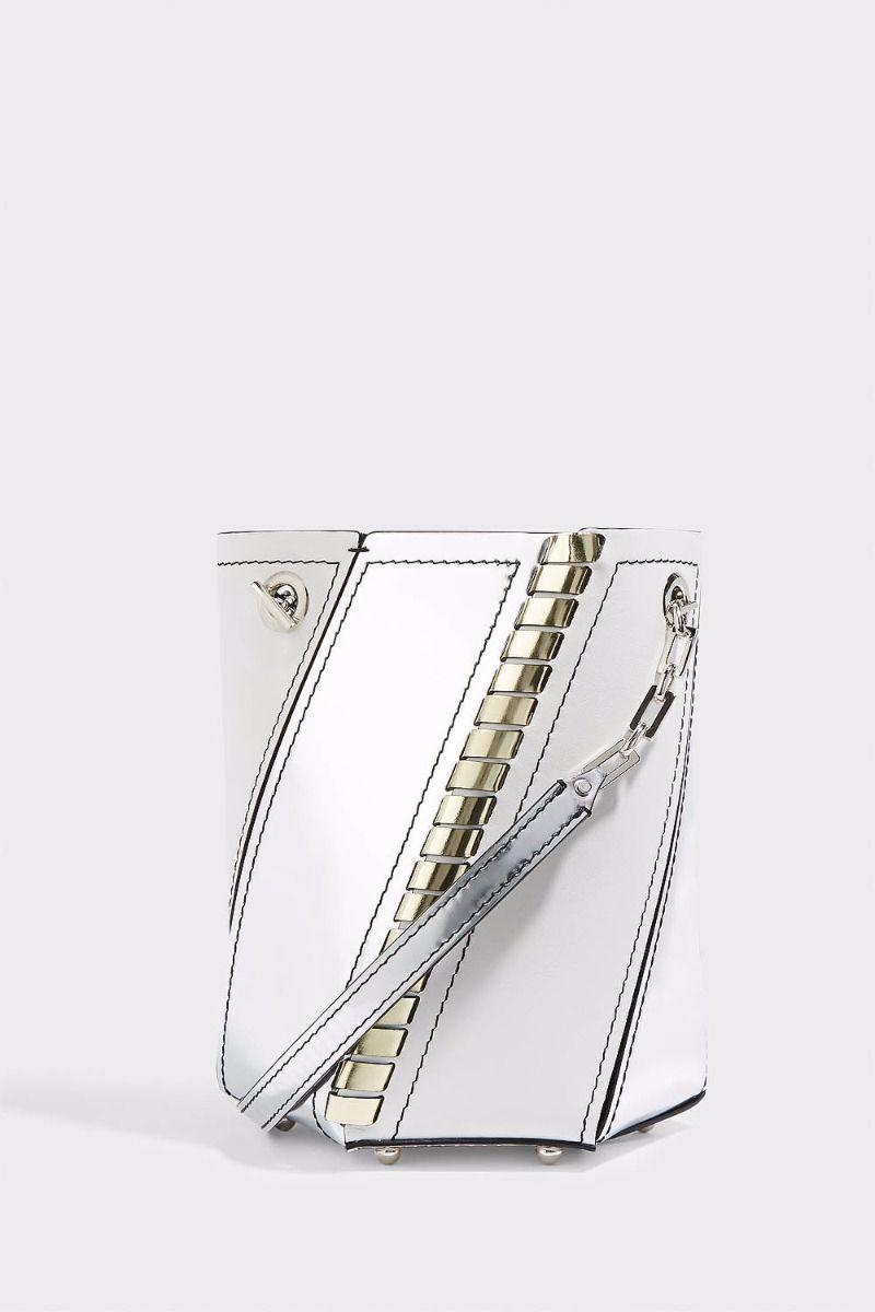HEX MINI WHIPSTITCHED LEATHER AND MIRRORED-LEATHER BUCKET BAG