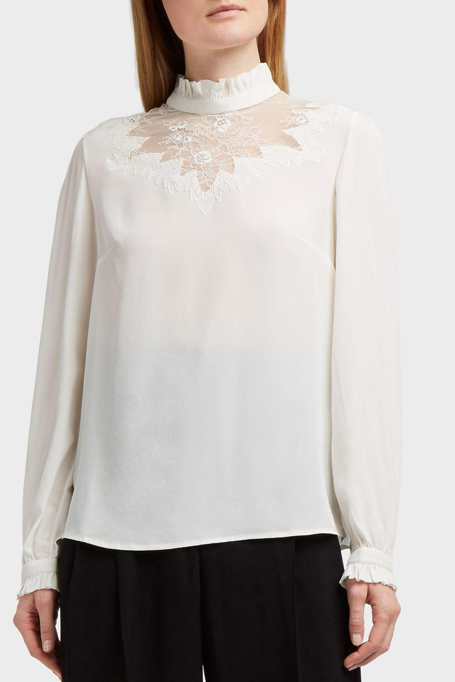 Outlet Perfect Clearance Reliable Lace-paneled Silk Crepe De Chine Blouse - White Paul & Joe Buy Cheap Best Store To Get Collections Sale Online Visit Cheap Price lb3B0z