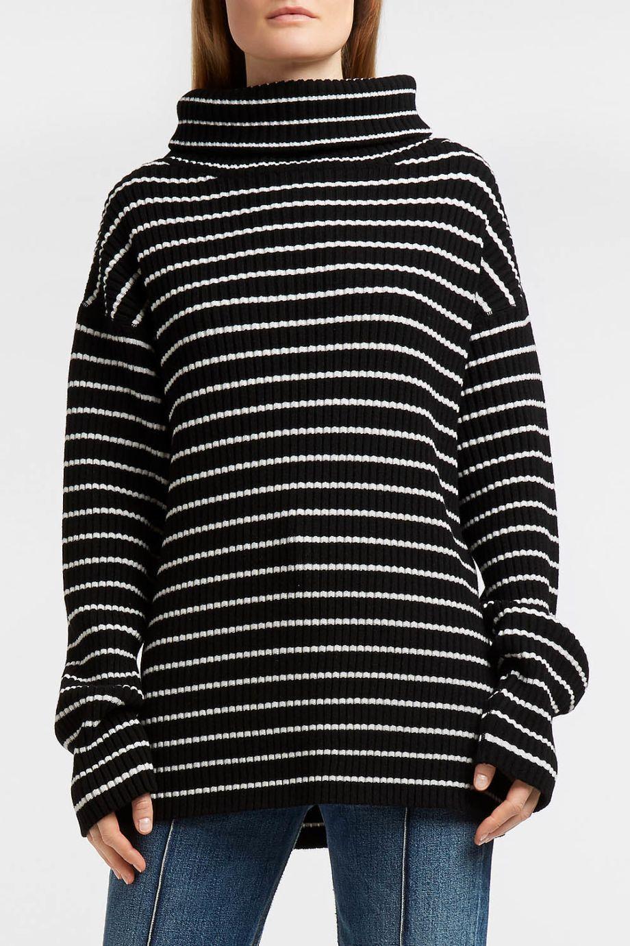 The Gigi Striped Merino Wool Polo Neck Jumper