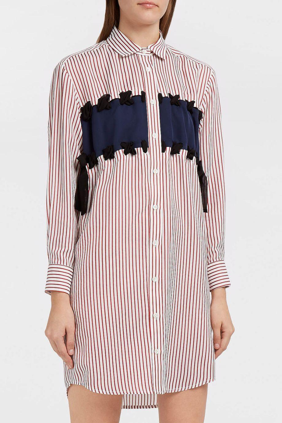 Paul & Joe Marion Silk Crepe De Chine-Panelled Striped Poplin Shirt Dress