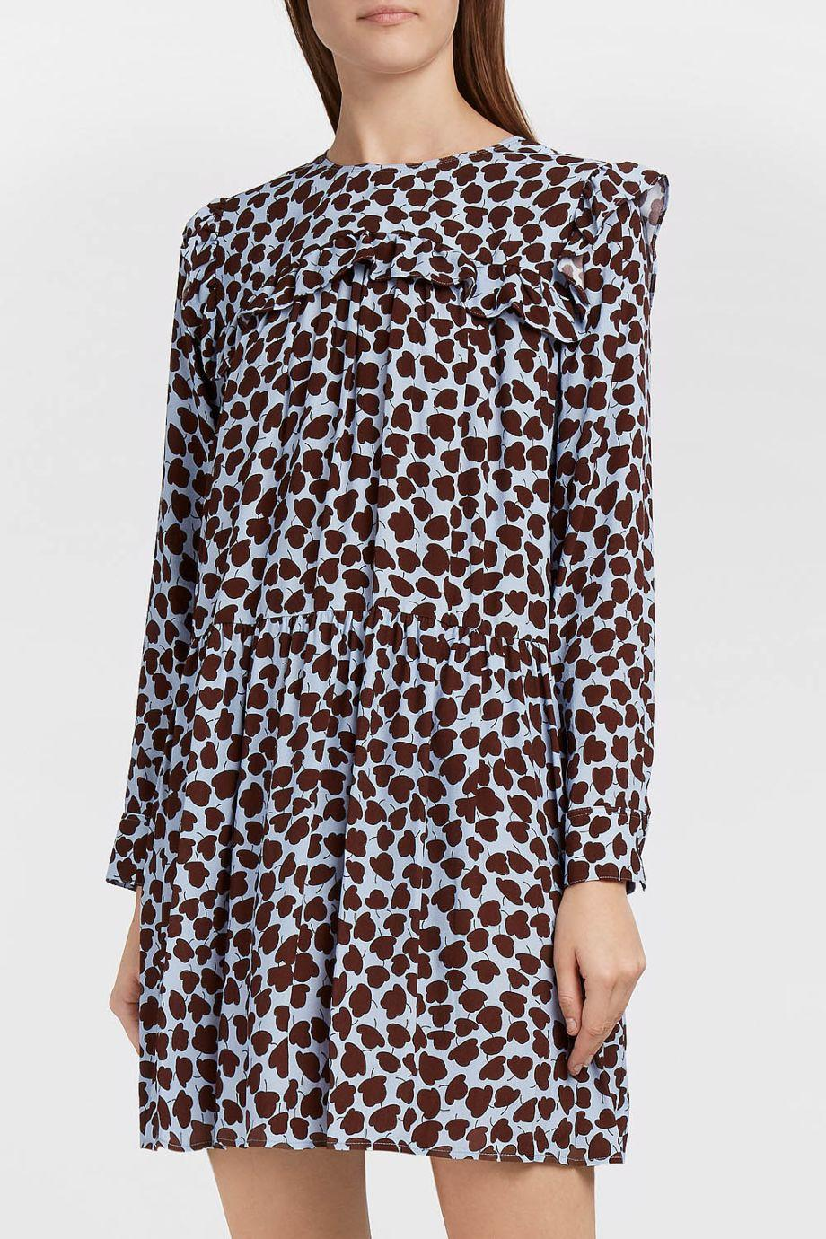 Paul & Joe Sister Concertina Ruffled Printed Crepe Dress