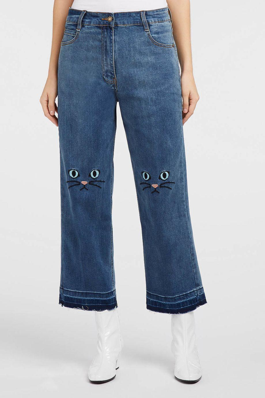 Paul & Joe Sister King Cropped Embroidered Wide-Leg Jeans
