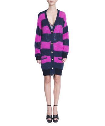 Versace  Mohair blend striped cardigan