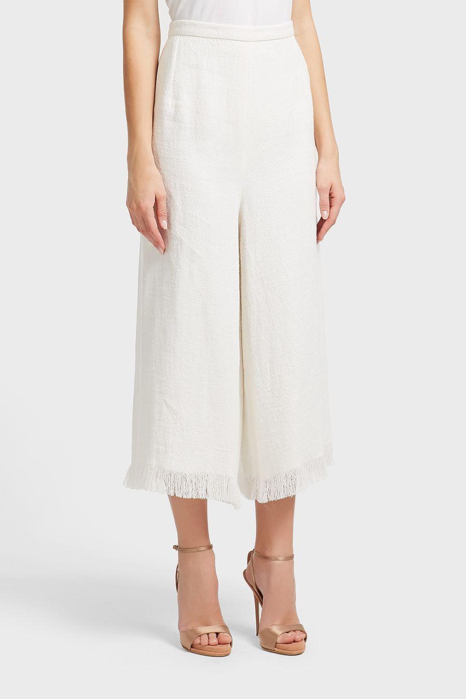 Andrew Gn Fringe Trim Linen Trousers