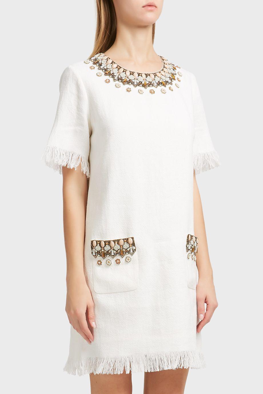 Andrew Gn Embellished Linen-Blend Short Dress