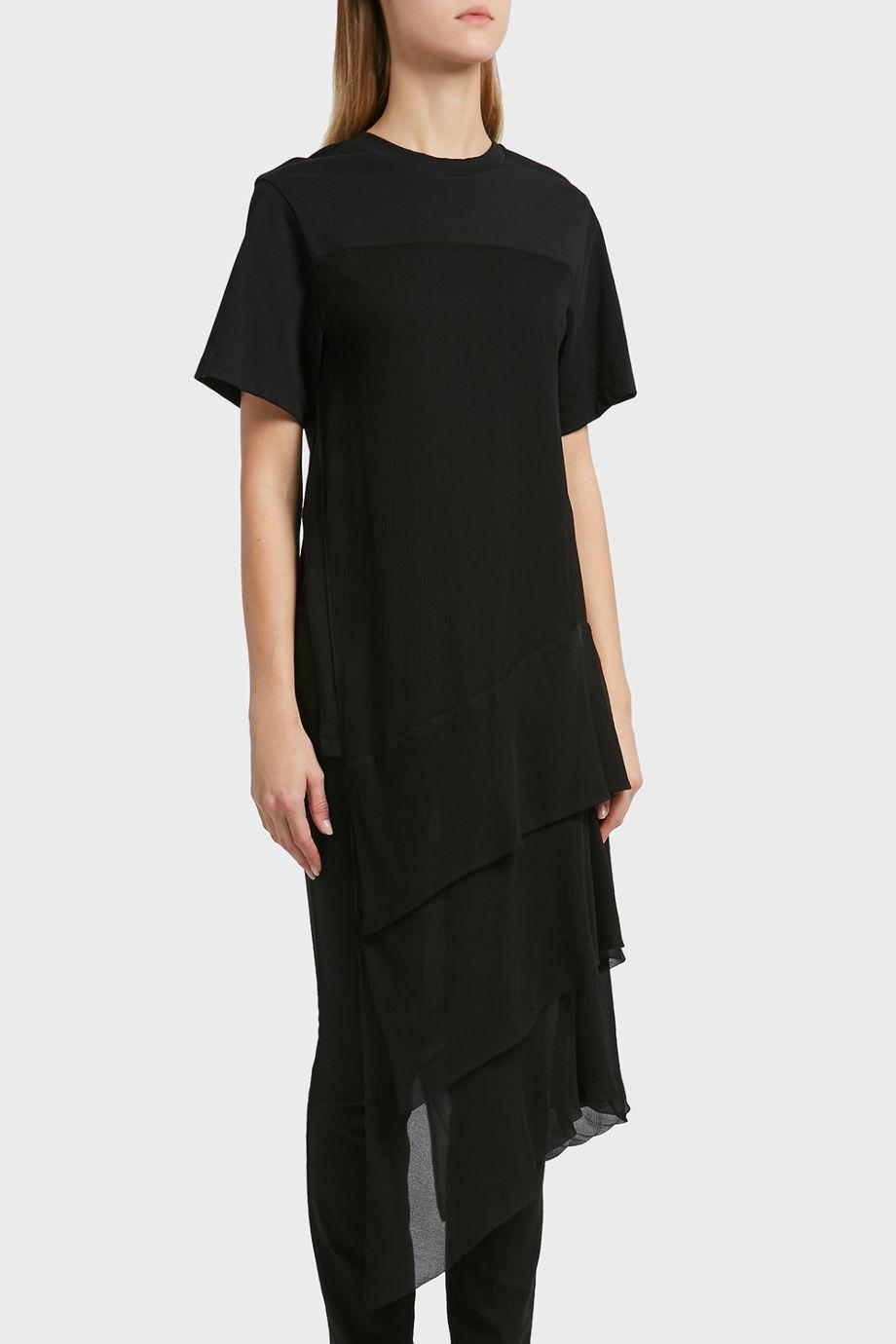 3.1 Phillip Lim  Tiered Cotton And Silk T-Shirt