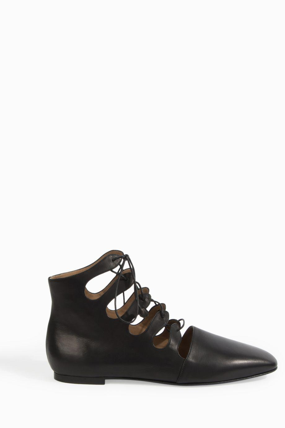 The Row Dimitri Lace-Up Leather Ankle Boots, Black
