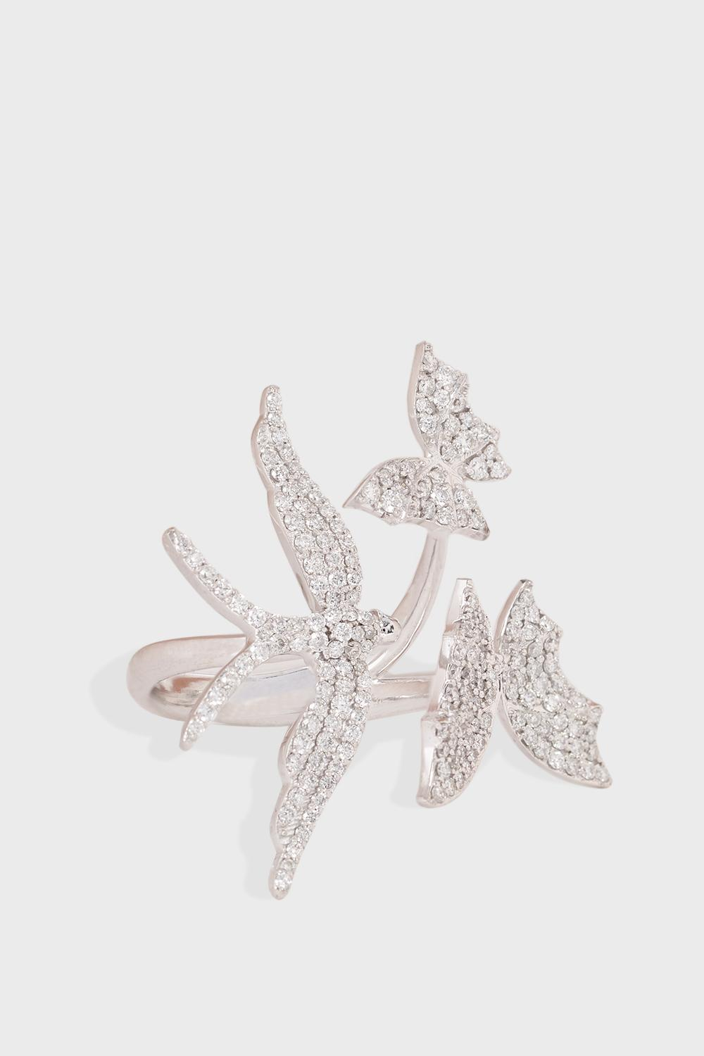 LIMELITE FINE JEWELLERY Bird And Butterflies Diamond Embellished Ring