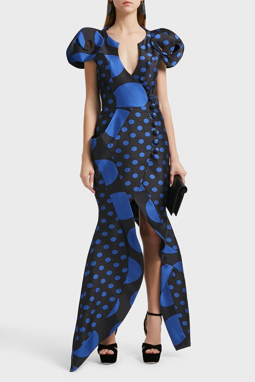 Ronald Van Der Kemp Sculptural Silk-Blend Wrap Gown