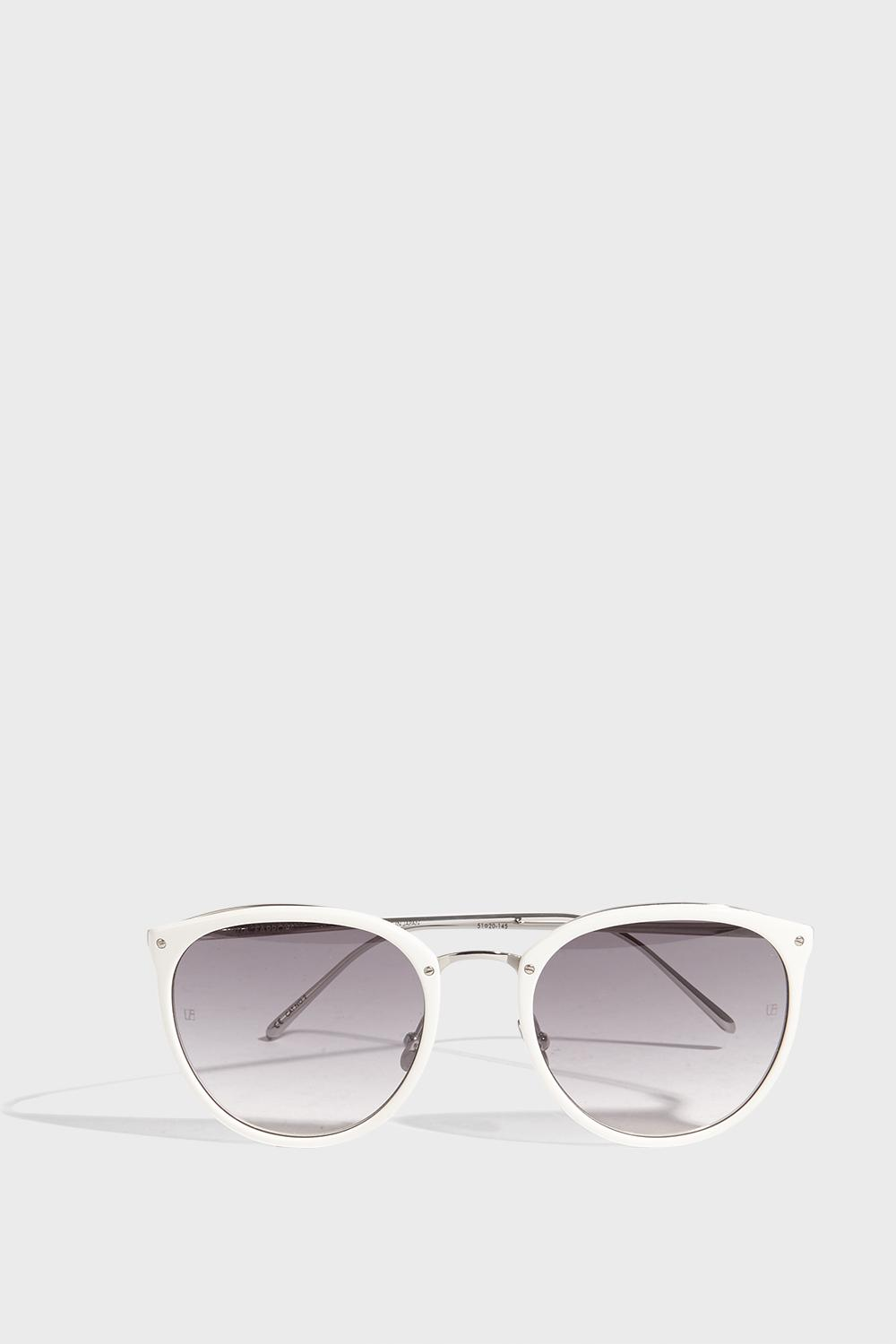 LINDA FARROW LUXE Round-Frame Acetate And Silver-Tone Sunglasses