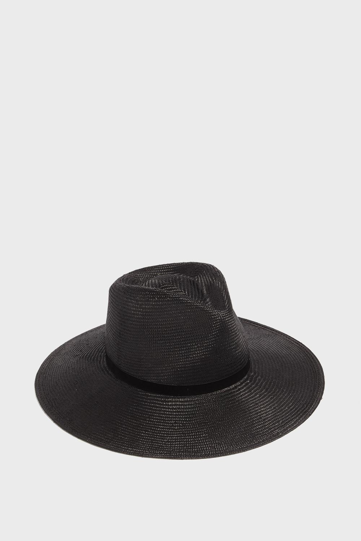 JANESSA LEONE HELENA FEDORA HAT, SIZE M, WOMEN, BLACK