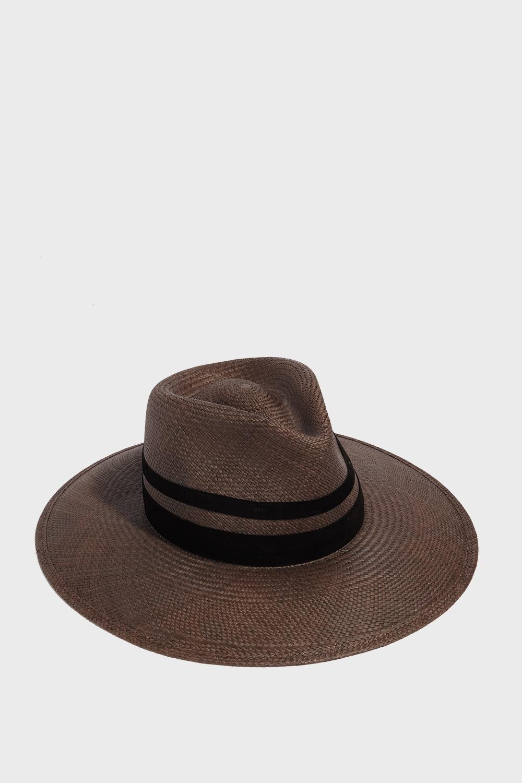 JANESSA LEONE MIA FEDORA HAT, SIZE M, WOMEN, BROWN