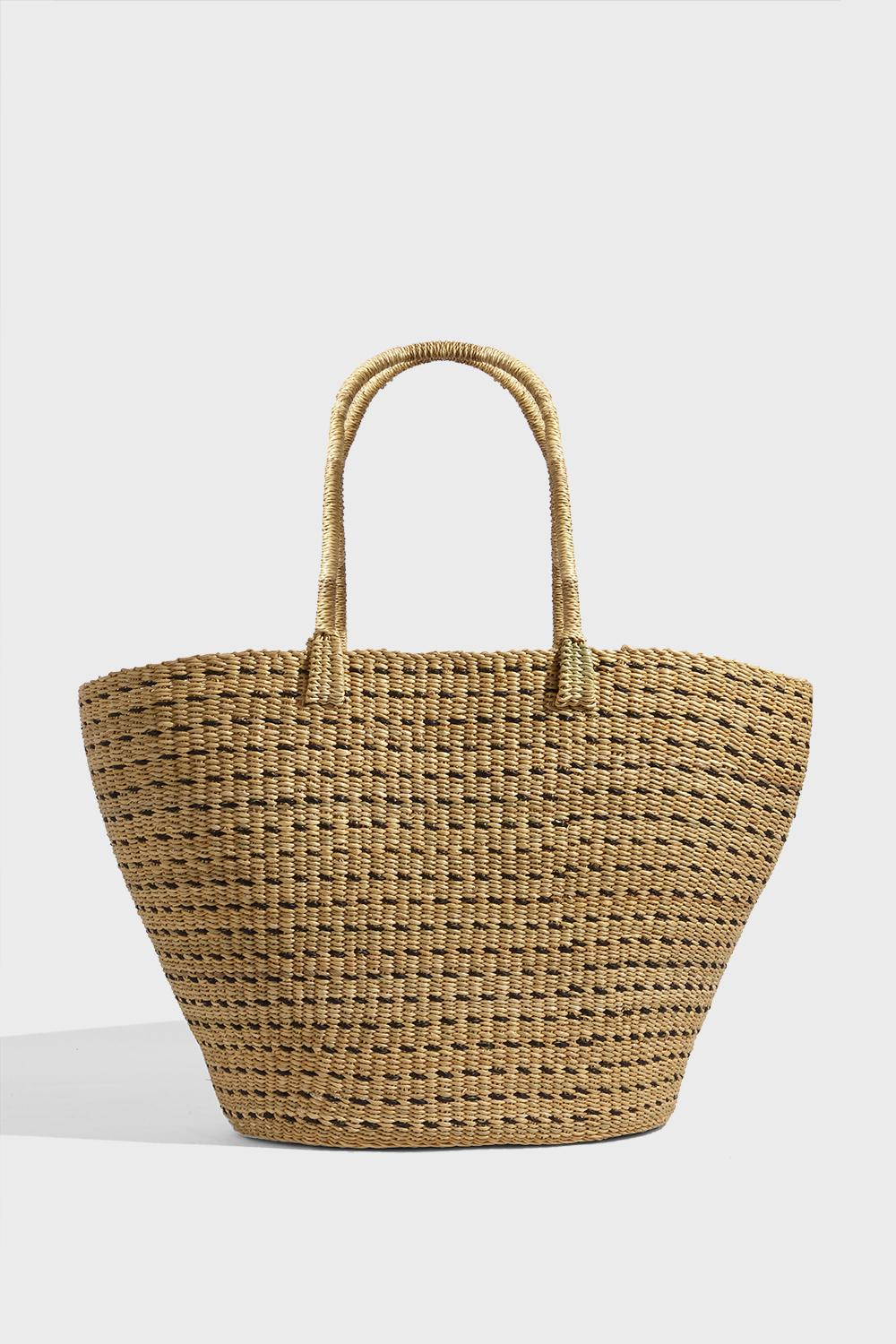 BLAISE HAND-WOVEN STRAW TOTE, SIZE OS, WOMEN, BEIGE